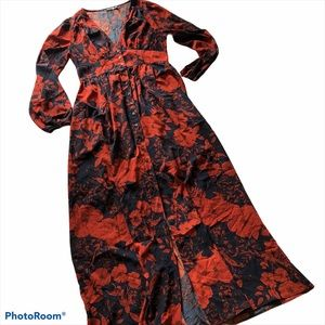 Boohoo Red & Blue Floral Maxi Dress | Long Sleeve